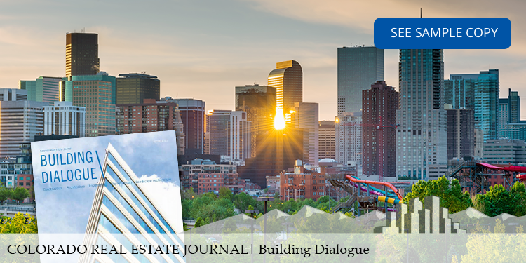 building dialogue media kit header showing horizon view of downtown denver at sunset