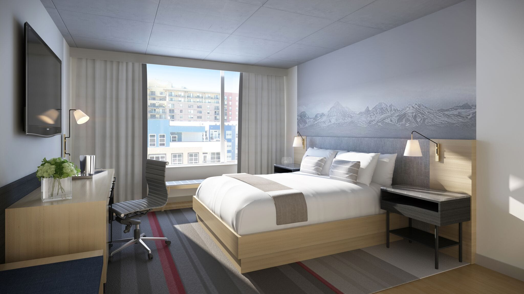 A king guest room overlooking the Union Station neighborhood