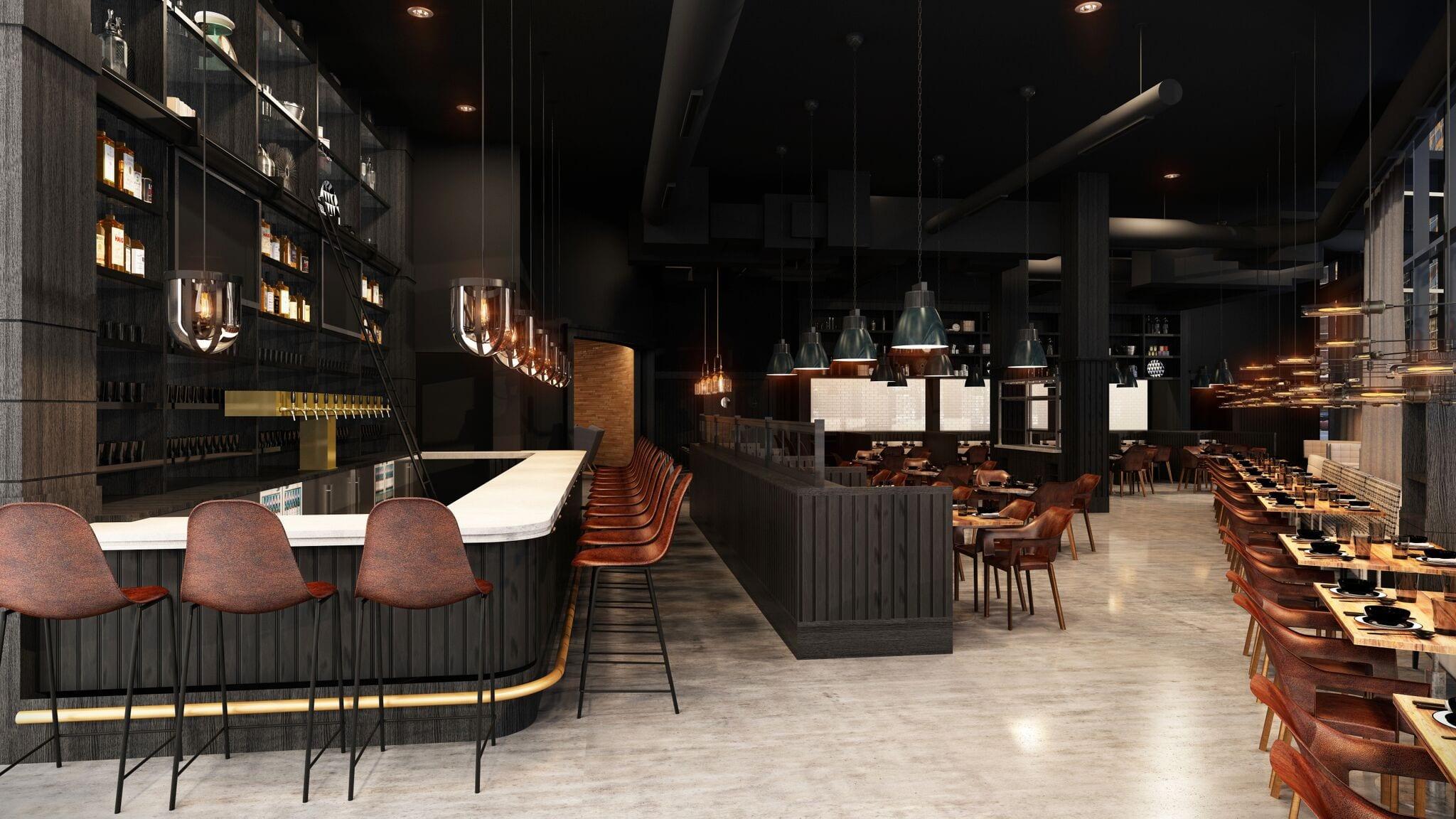 Hotel Indigo's dining and lounge area