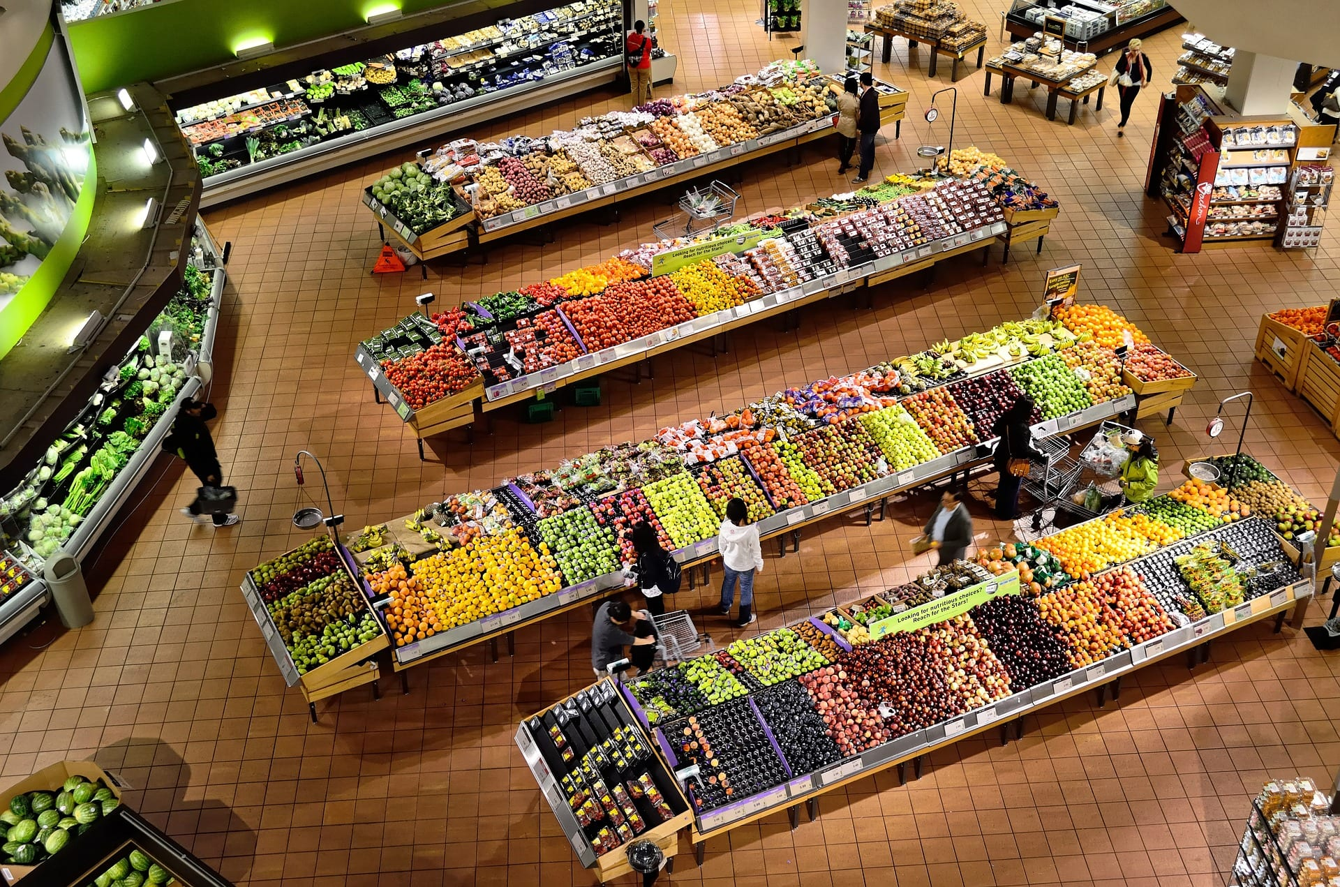 Overhead view of product section in grocery store